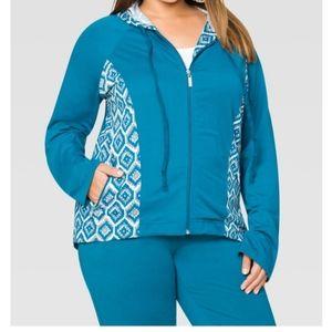 Ashley Stewart Sport Tile Print Hoodie Jacket NWT
